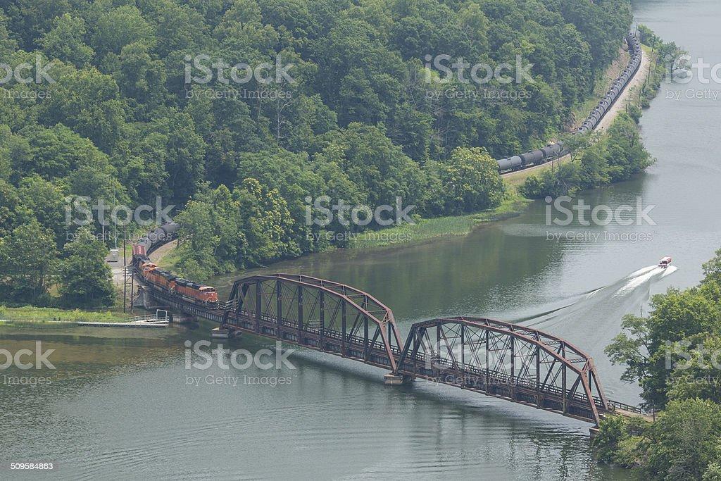 Train Along New River stock photo