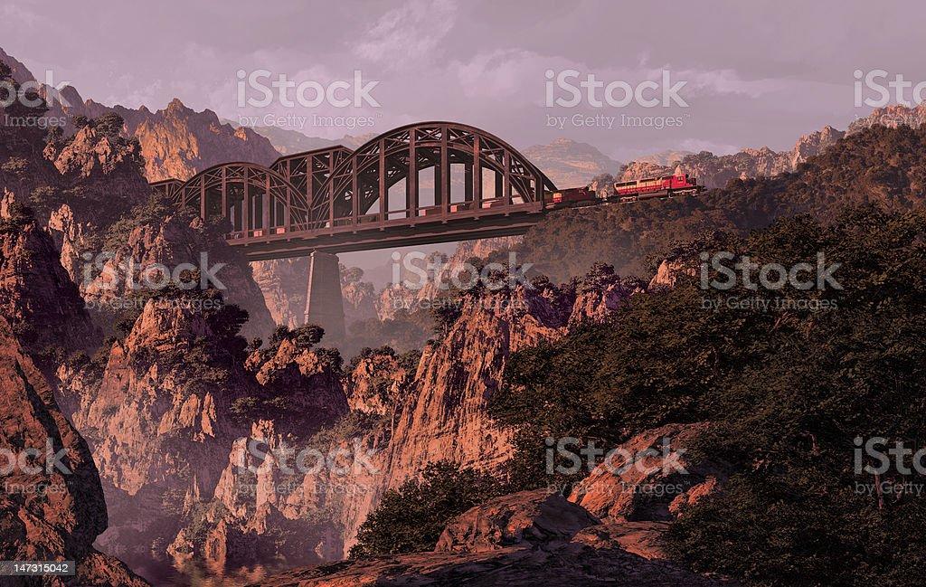 Train And Bridge royalty-free stock photo