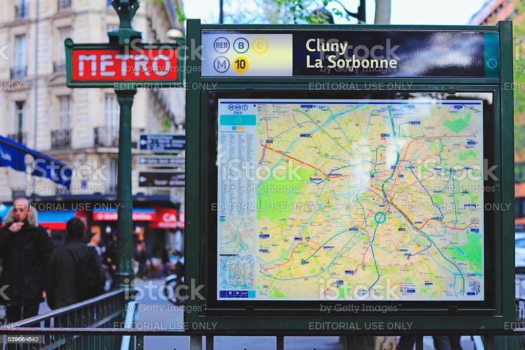 Train and metro map in Paris stock photo