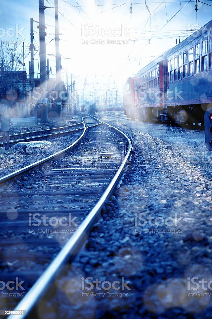 train and railroad track. stock photo