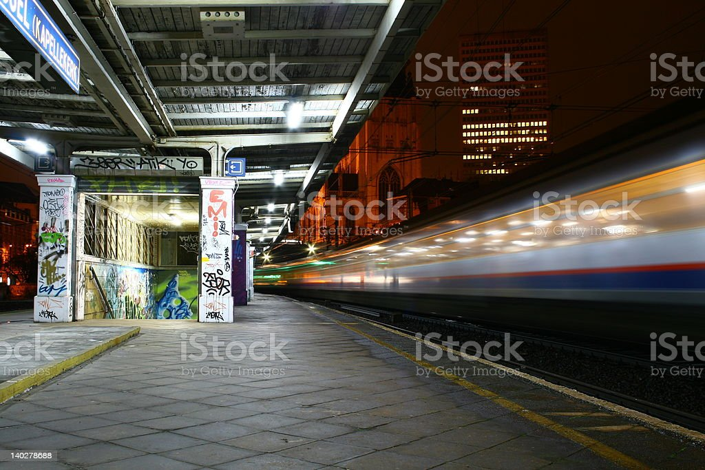 Train and the station royalty-free stock photo