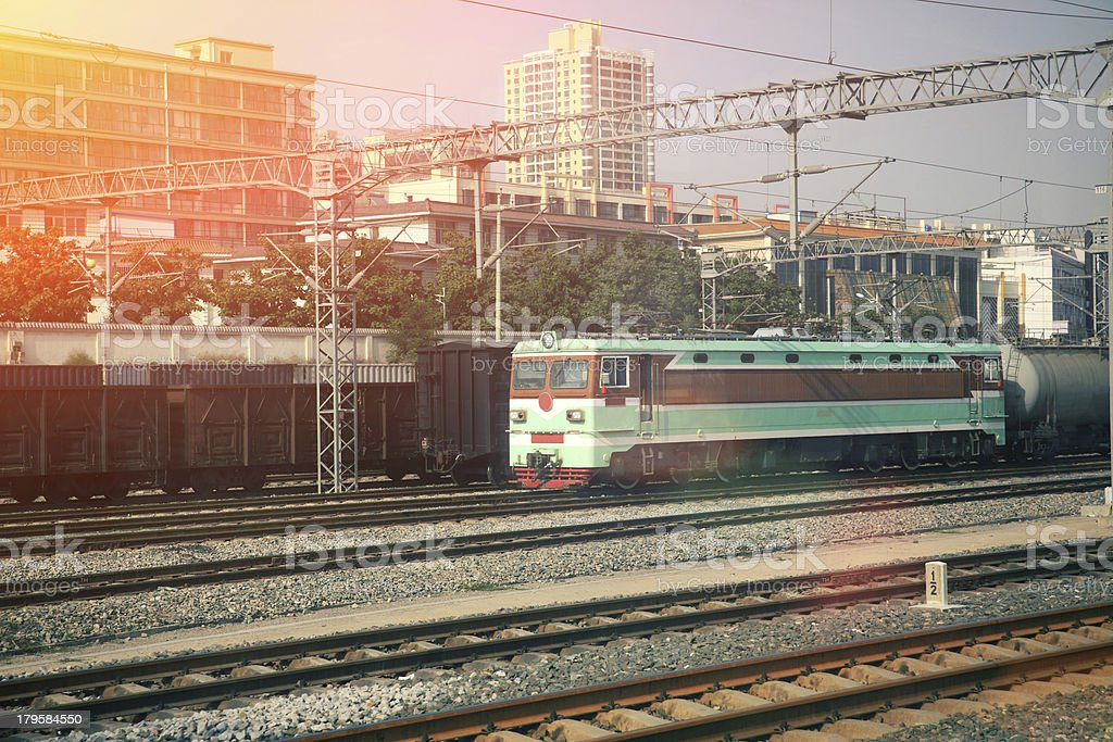 train approaching royalty-free stock photo