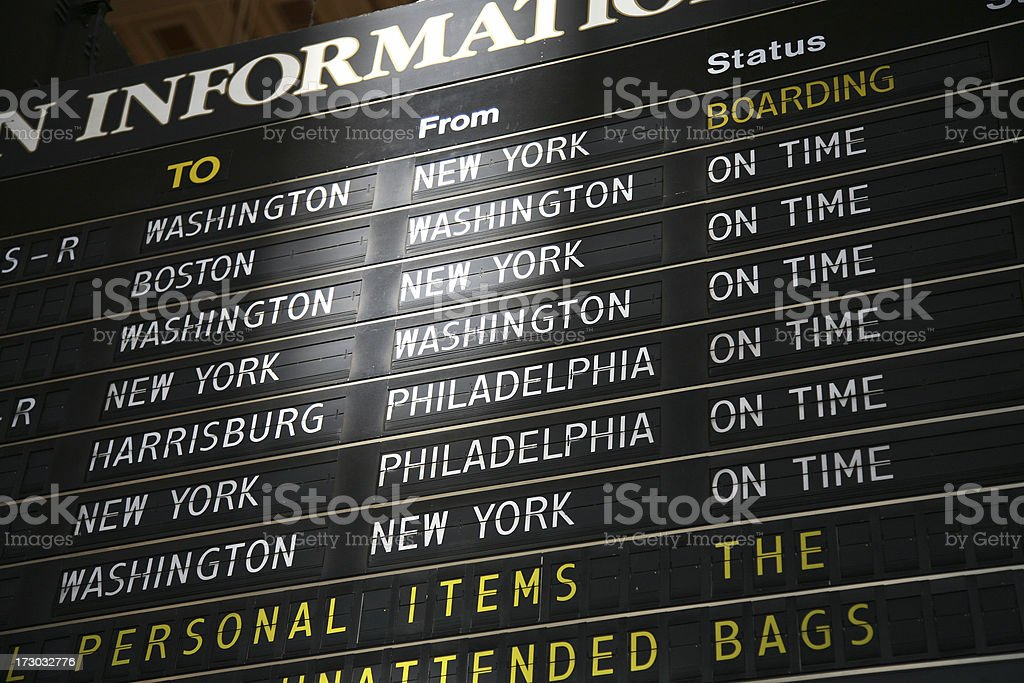 Train Arrival Board In Station royalty-free stock photo