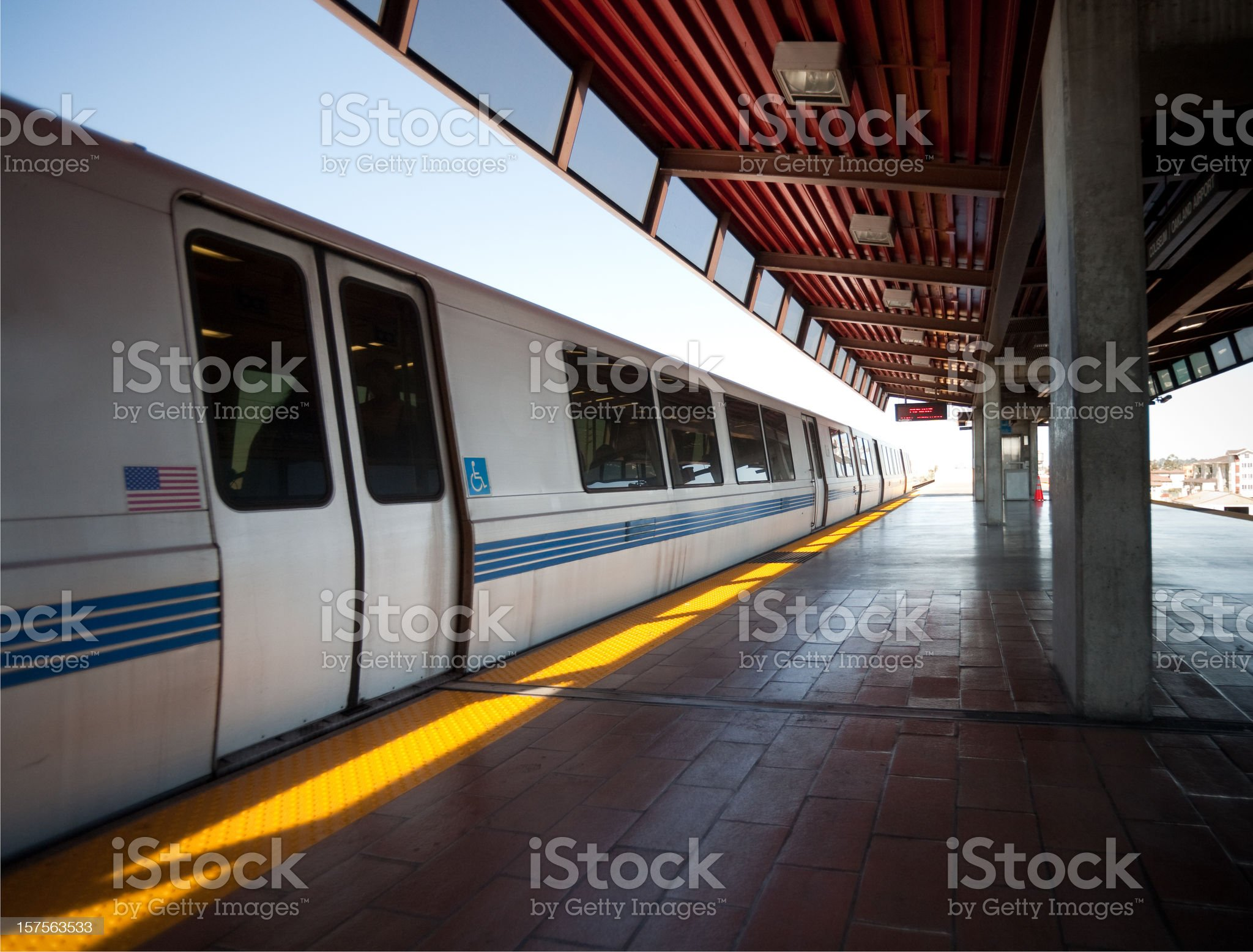 BART train arrives at station royalty-free stock photo