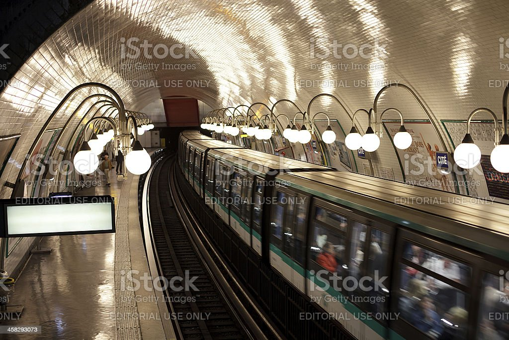 Train arrives at the subway station royalty-free stock photo