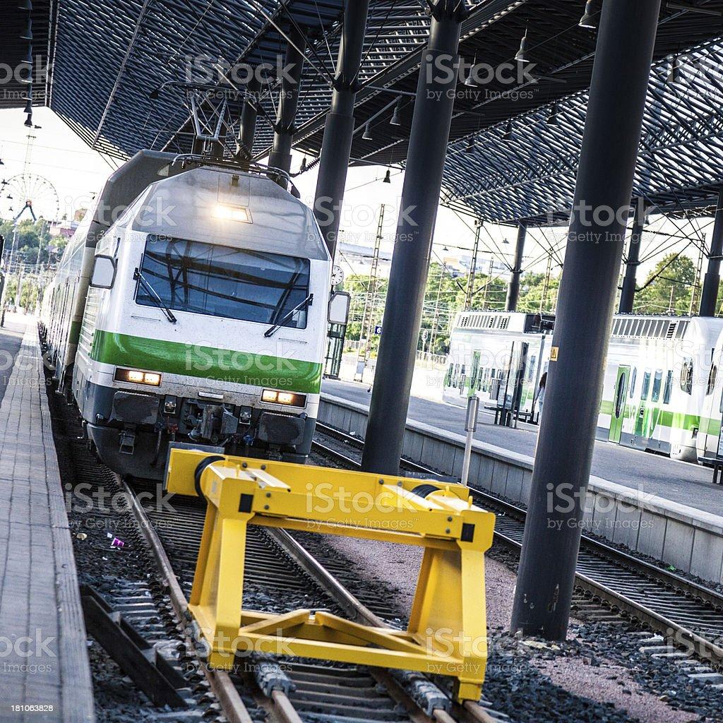 Train arrives in Helsinki Central Station stock photo