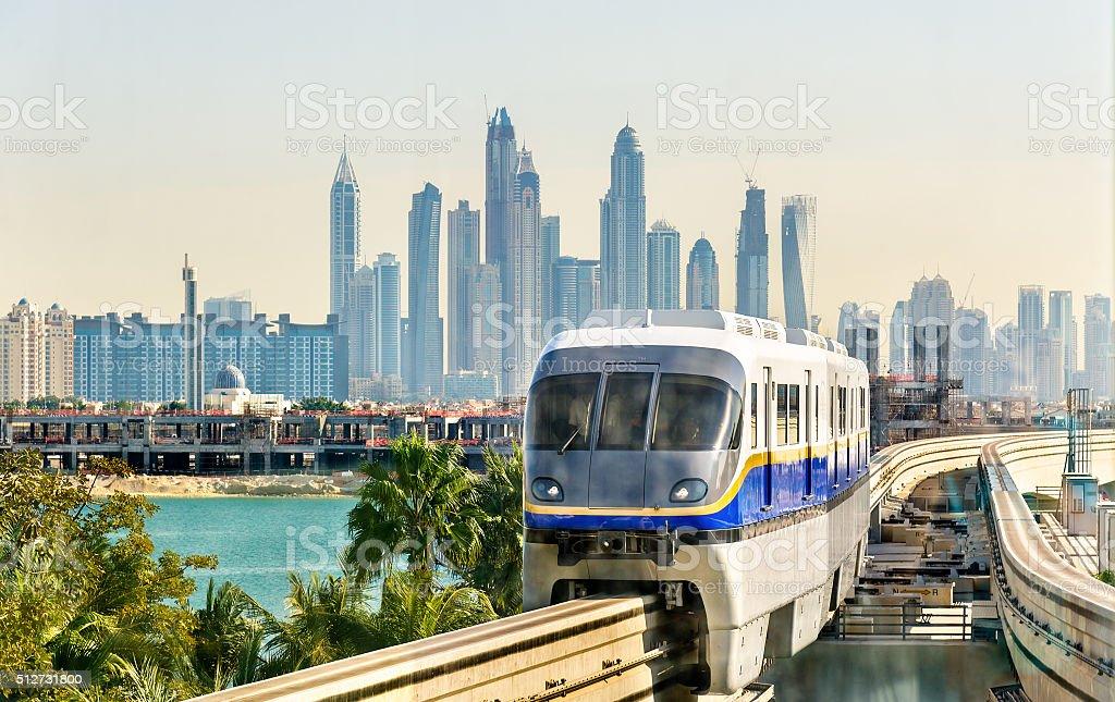 Train arriving at Atlantis Monorail station in Dubai stock photo