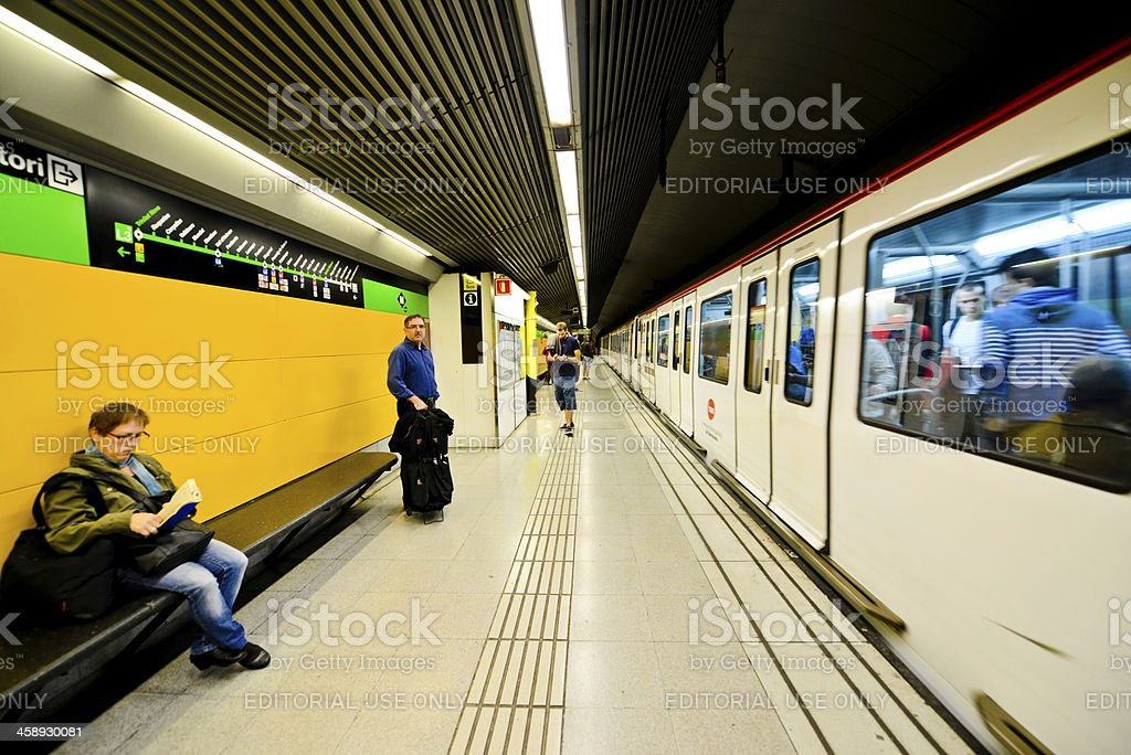 Train arriving at Barcelona Subway Station, Spain royalty-free stock photo