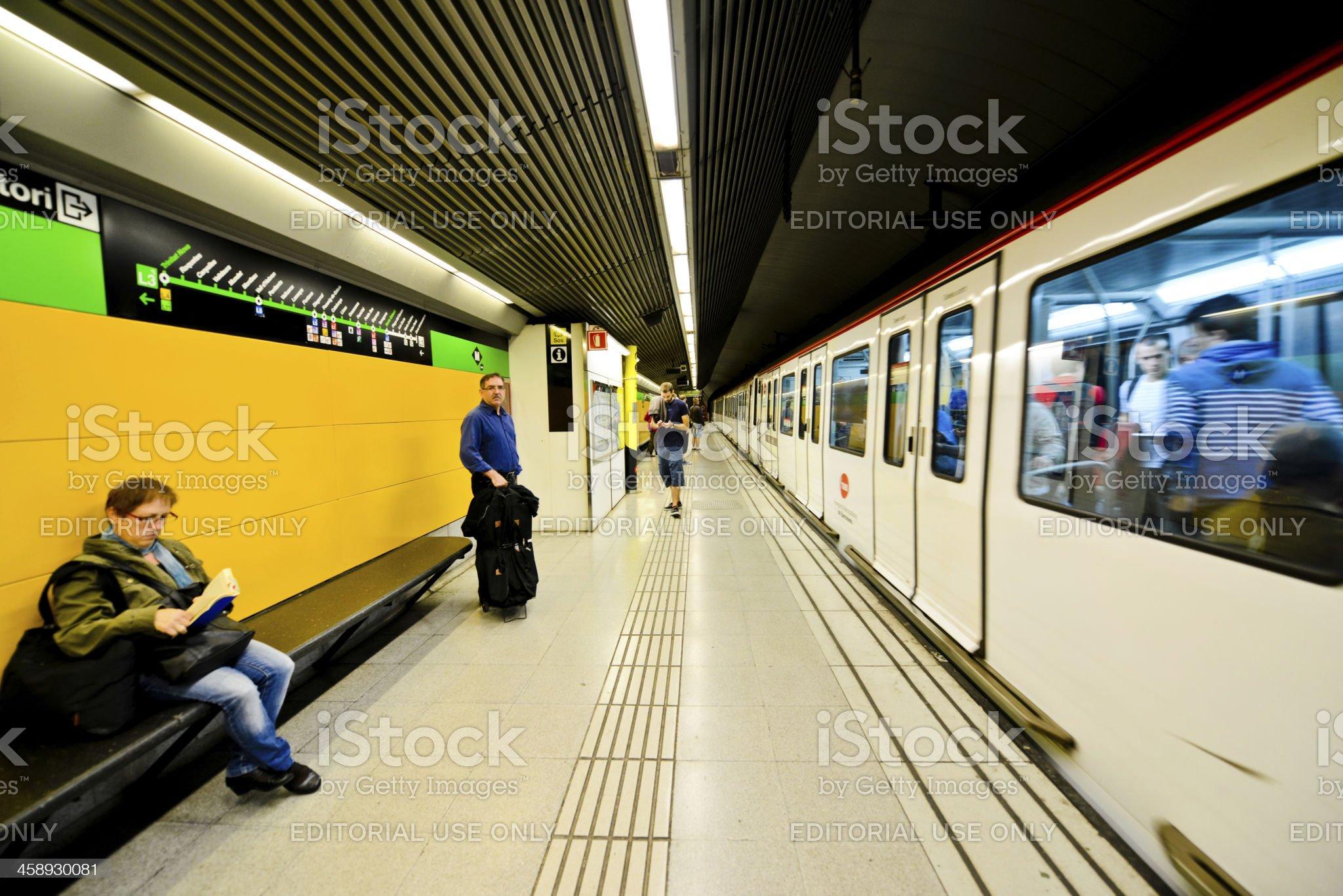 Train arriving at Barcelona Subway Station, Spain royalty-free stock photo