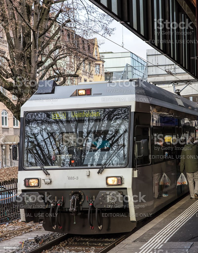 Train at a platform of the Winterthur railway station stock photo
