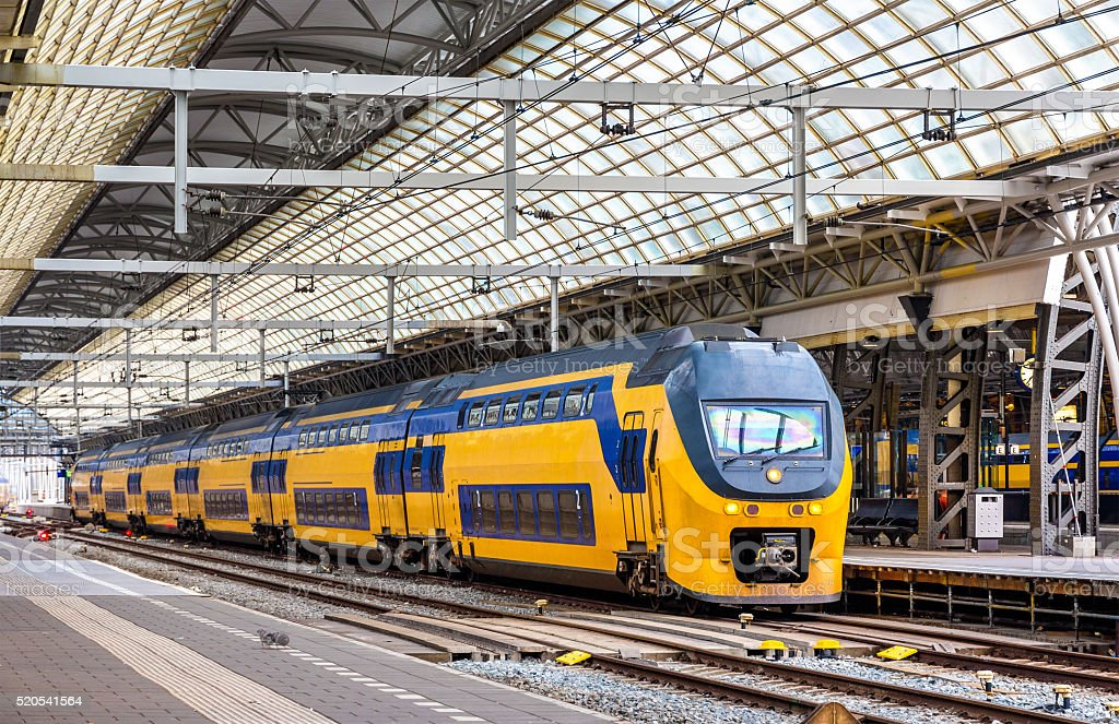 Train at Amsterdam Centraal station stock photo