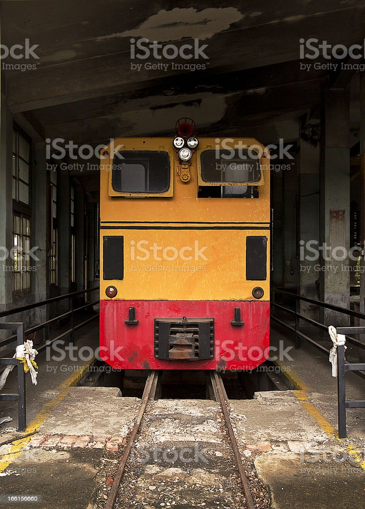 Train at an old service depot royalty-free stock photo