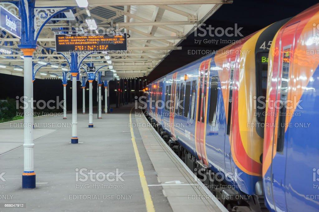 Train at Basingstoke station stock photo