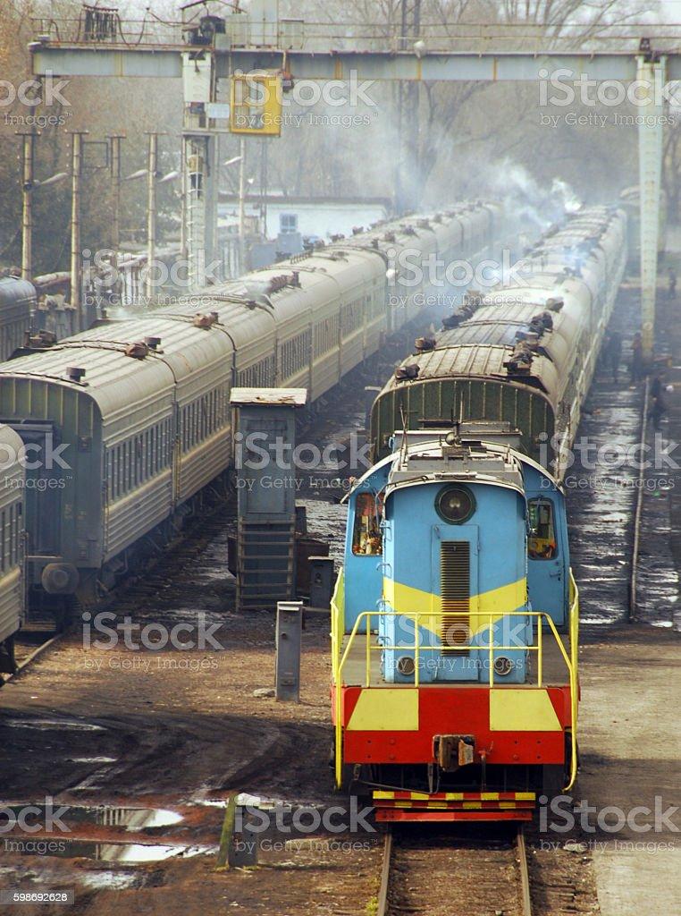 Train at Bishkek's central railway station, Kyrgyzstan stock photo