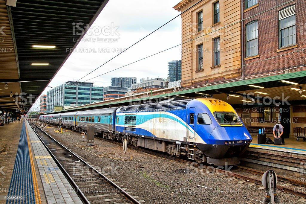 XPT train at Central Station, Sydney stock photo