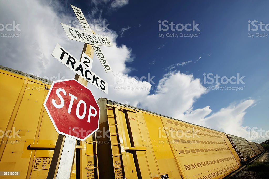 Train at Crossing stock photo