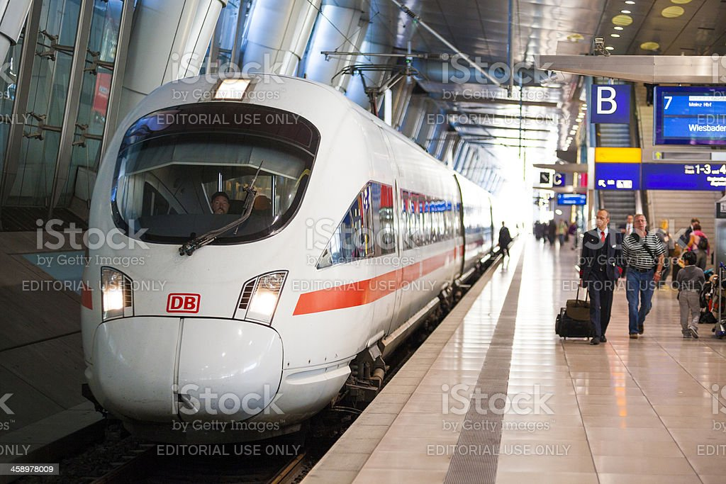 ICE train at Frankfurt Airport Station royalty-free stock photo