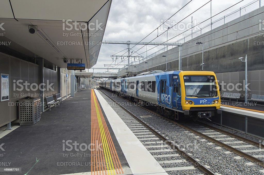 Train at Mitcham station stock photo