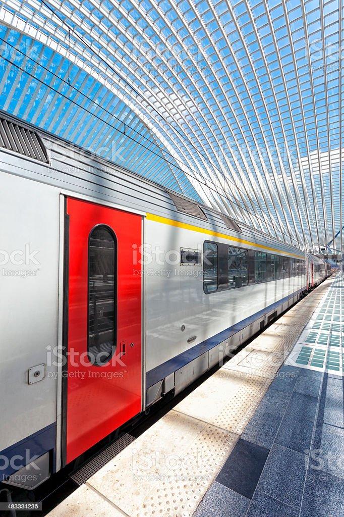 Train at Modern Railway Station in Liege Guillemins, Belgium stock photo