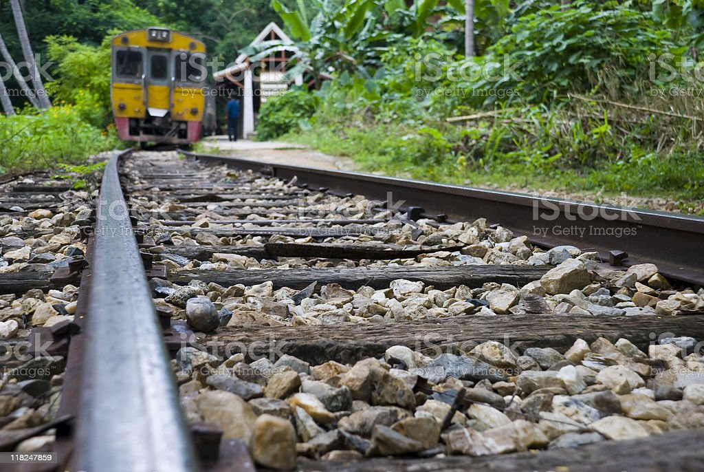Train at Nam Tok station in Thailand royalty-free stock photo