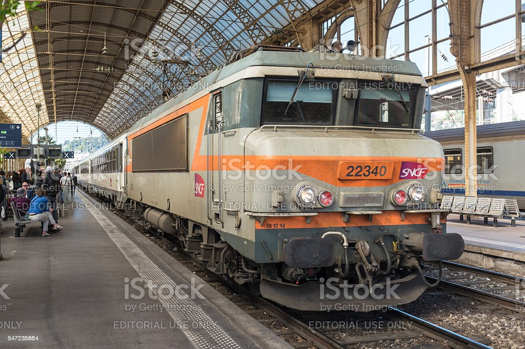 SNCF Train at Nice station in France stock photo