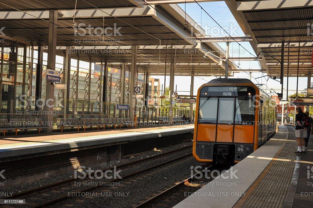 Train at platform of Parramatta railway station stock photo