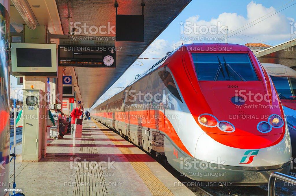 Train at Santa Lucia station in Venice stock photo