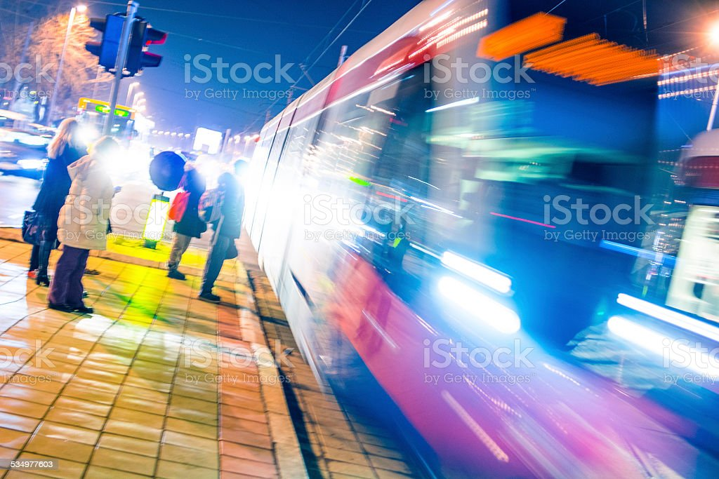 Train at speed stock photo