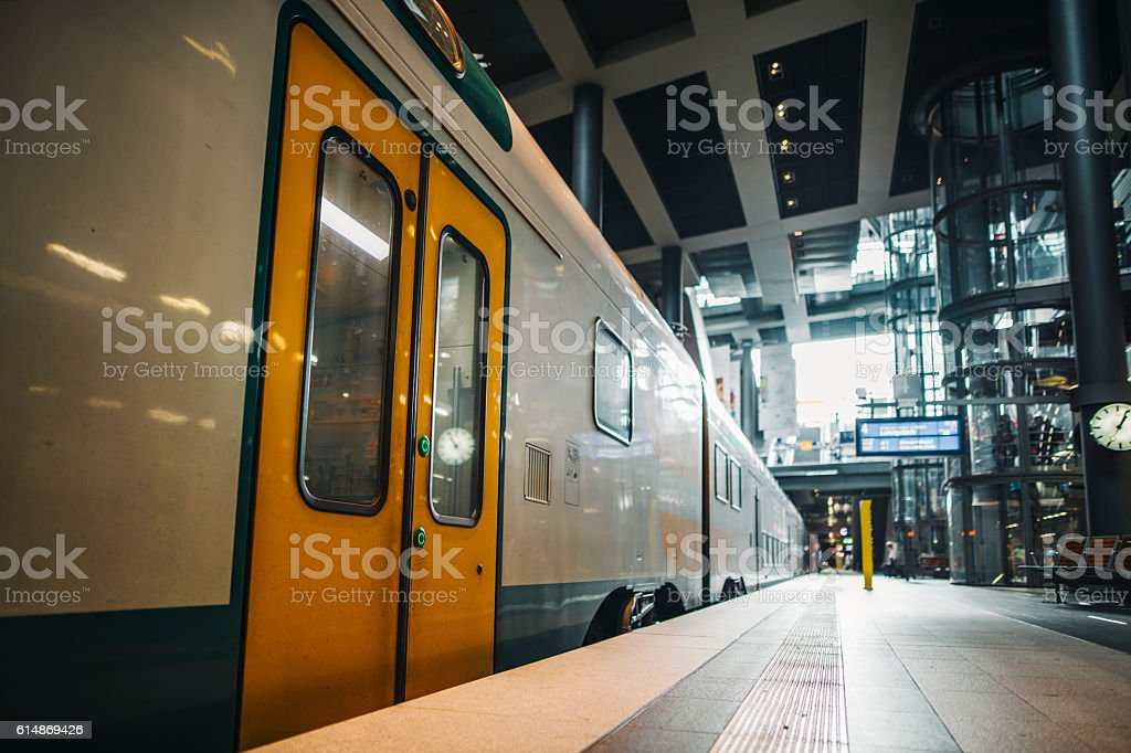 Train at station stock photo