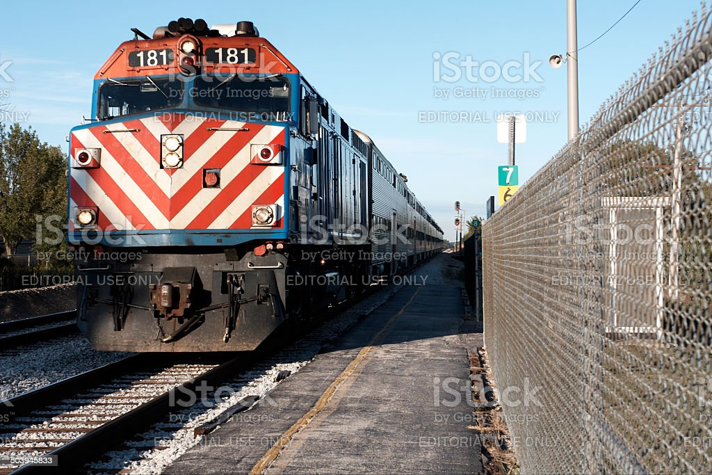 Train At Station, suburbs Chicago - Chicago Metra Train stock photo