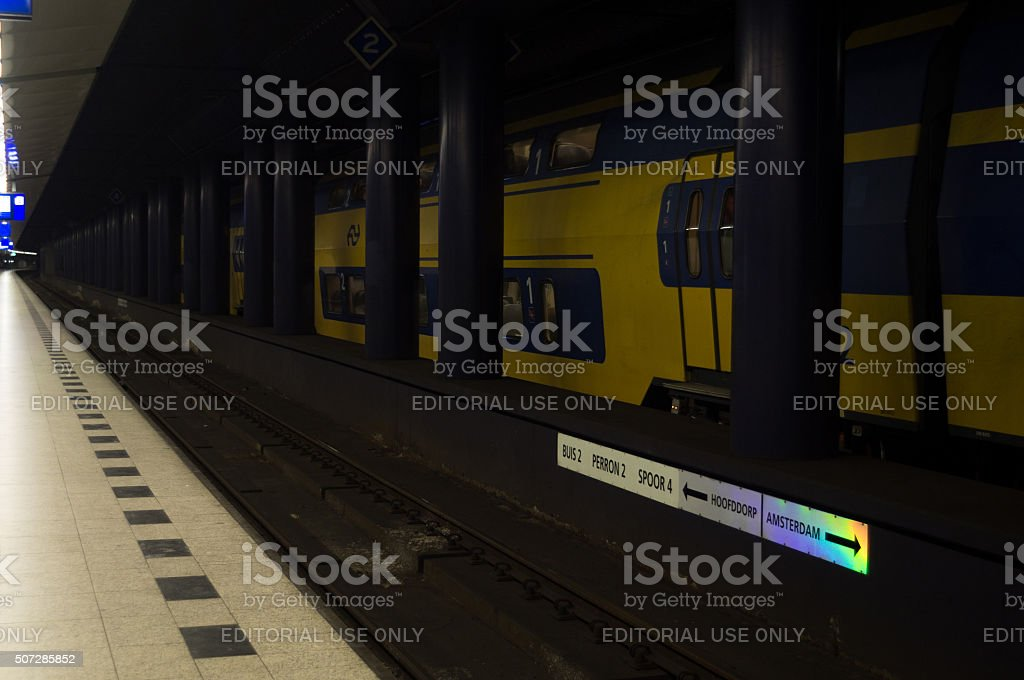 Train at Subway Railway Station in Amsterdam Schiphol stock photo