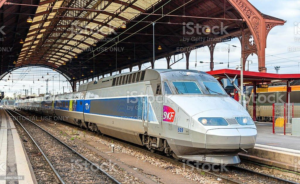 SNCF TGV train at the main station of Strasbourg stock photo