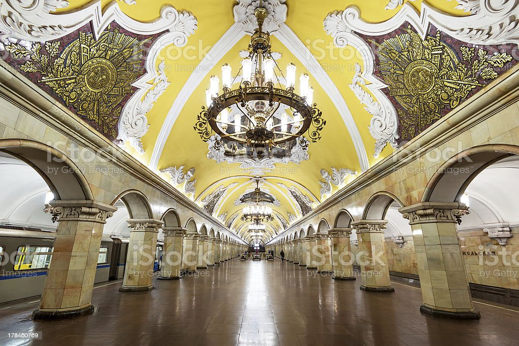 Train at the metro station Komsomolskaya in Moscow, Russia stock photo