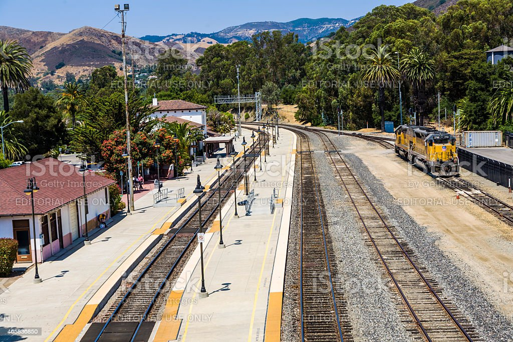 train at the train station from San Luis Obispo stock photo