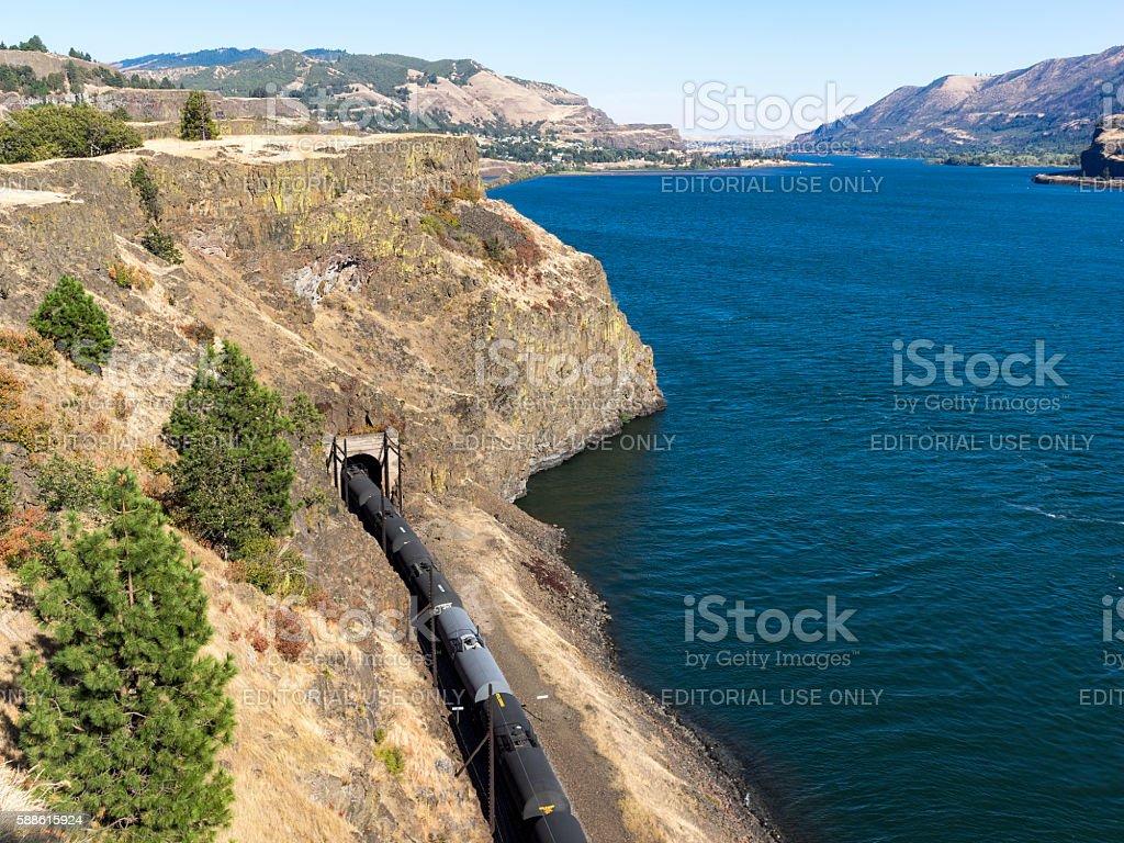 Train BNSF by Columbia River Tank Cars Washington State Oregon stock photo
