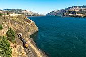 Train BNSF in Tunnel by Columbia River Washington State Oregon