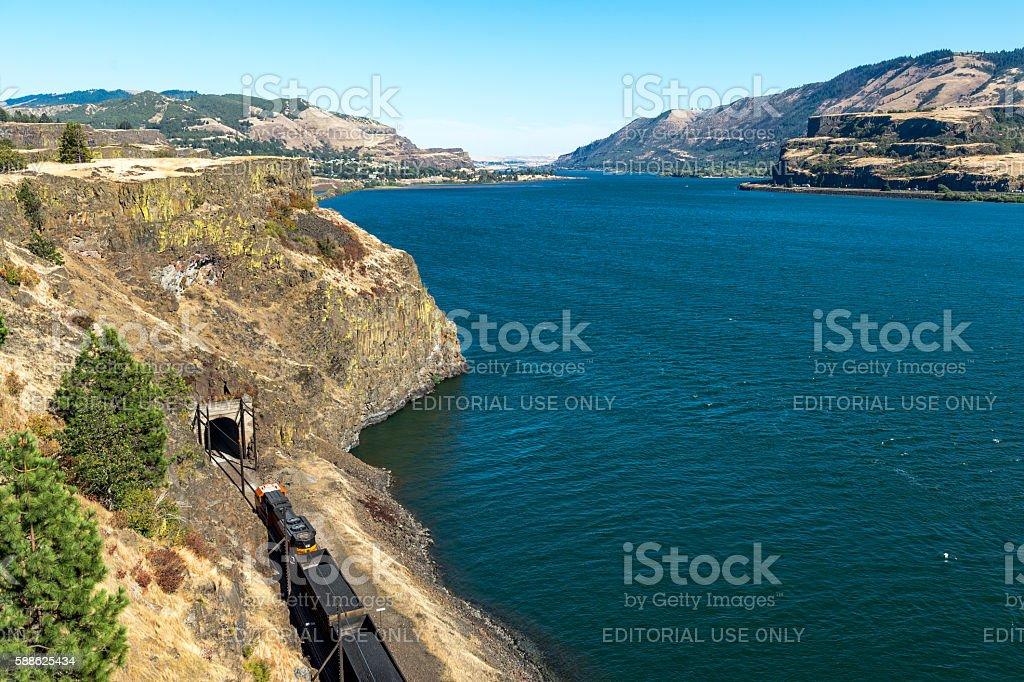 Train BNSF with Coal by Columbia River Washington State Oregon stock photo