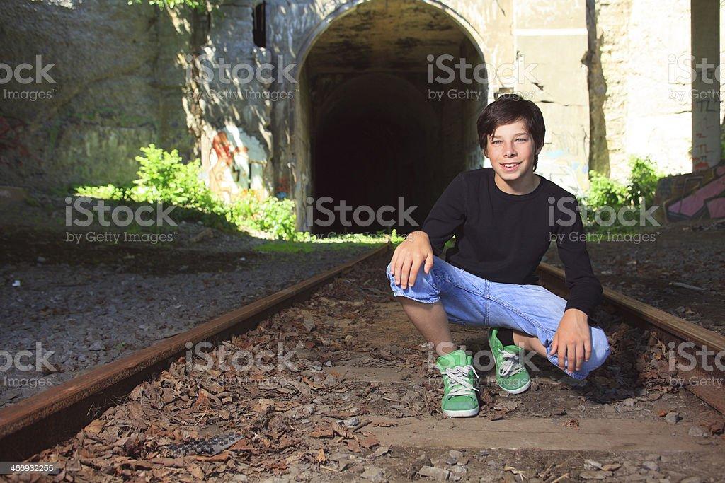 Train - Boy Happy royalty-free stock photo