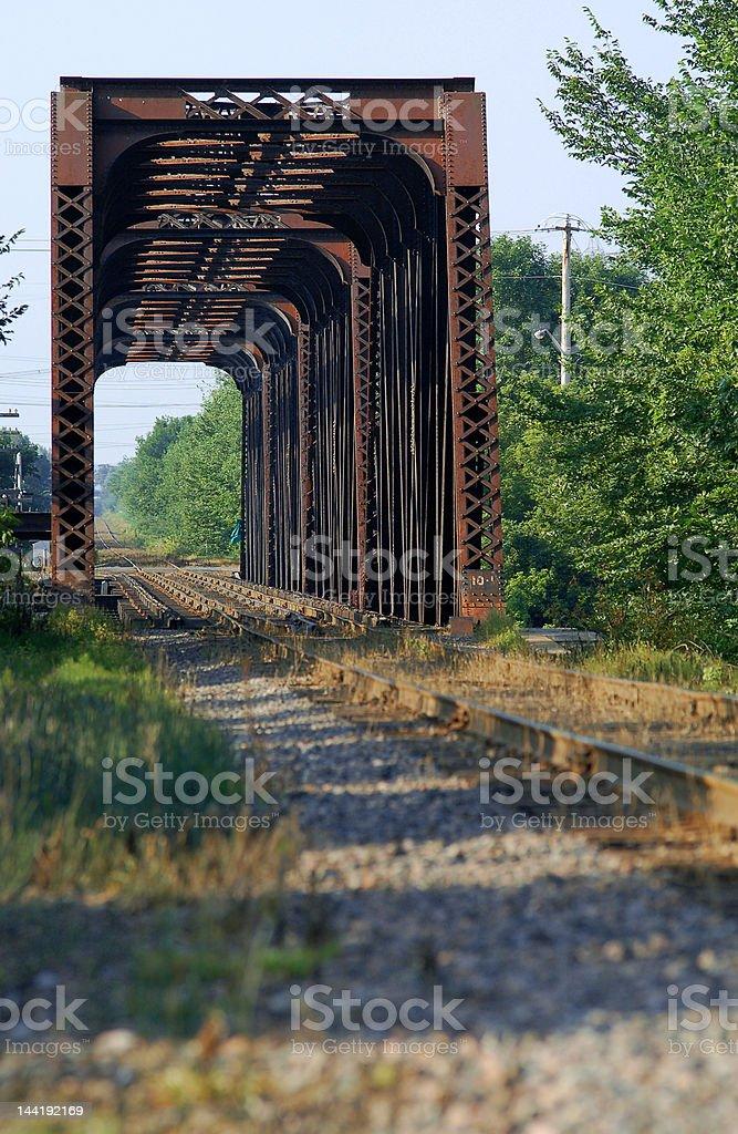 Train bridge on riviere des mille iles, Canada royalty-free stock photo