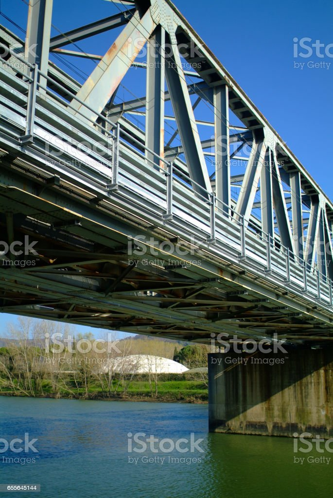 Train bridge. South side of Florence's Arno river. stock photo