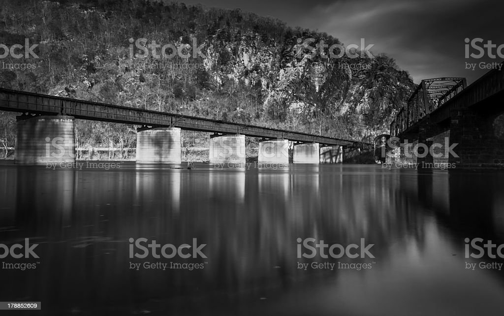 Train bridges crossing the Potomac River, in Harper's Ferry, WV stock photo