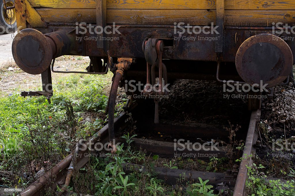 Train buffer at a station stock photo