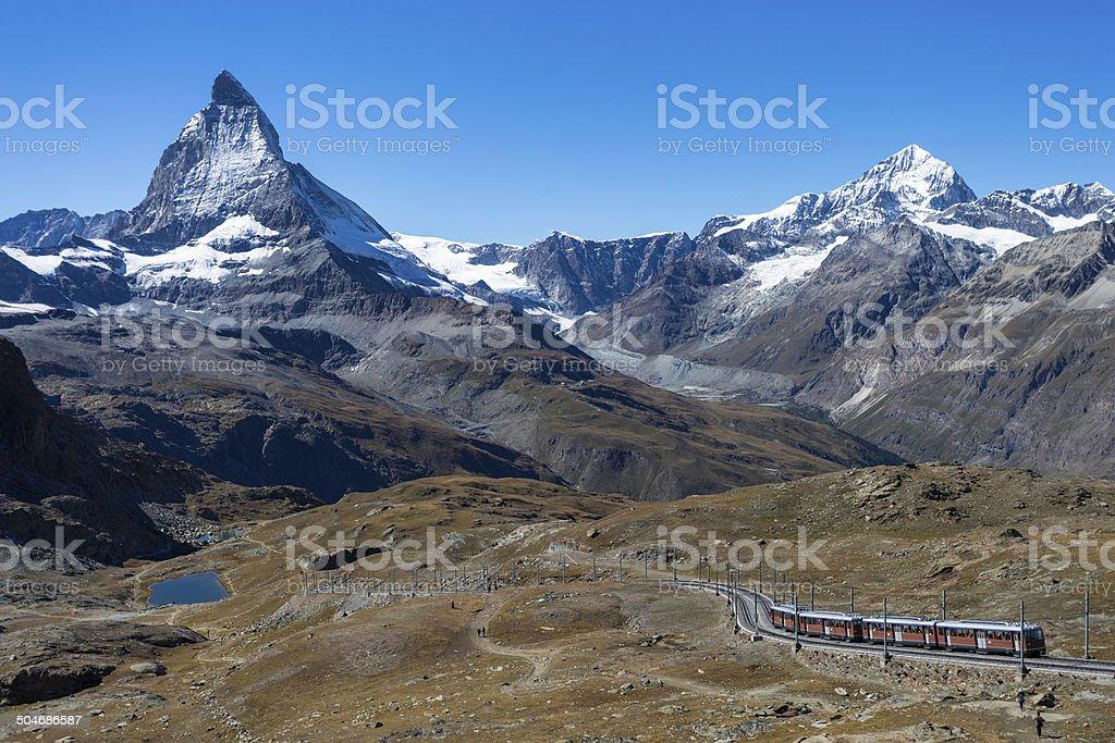 Train by the Matterhorn stock photo