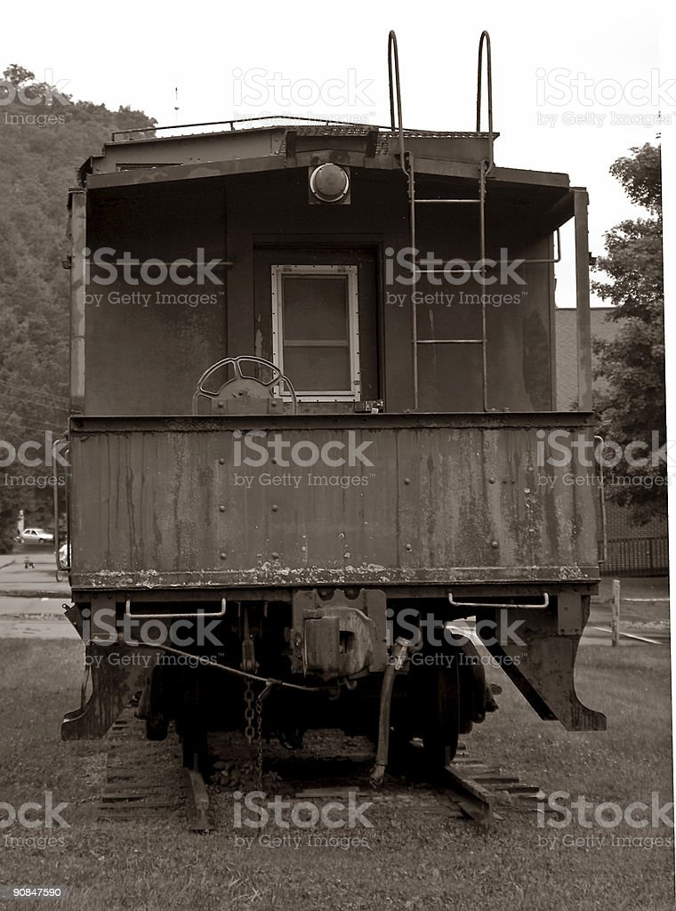 train caboose in sepia royalty-free stock photo