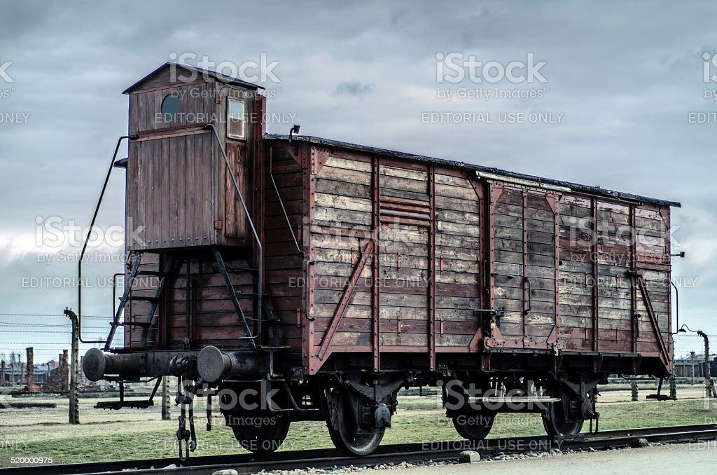 Train Car at Auschwitz II stock photo