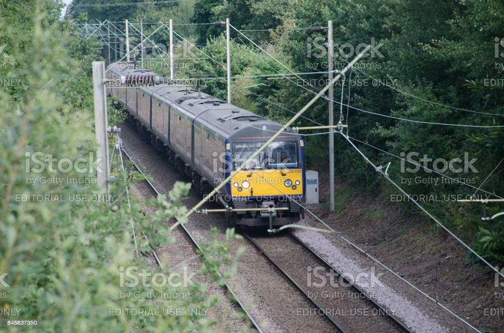 UK train Carriage Electric four piece unit on Track stock photo