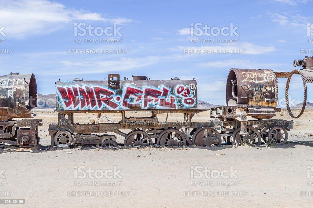 Train cemetery in Salar de Uyuni - Bolivia stock photo
