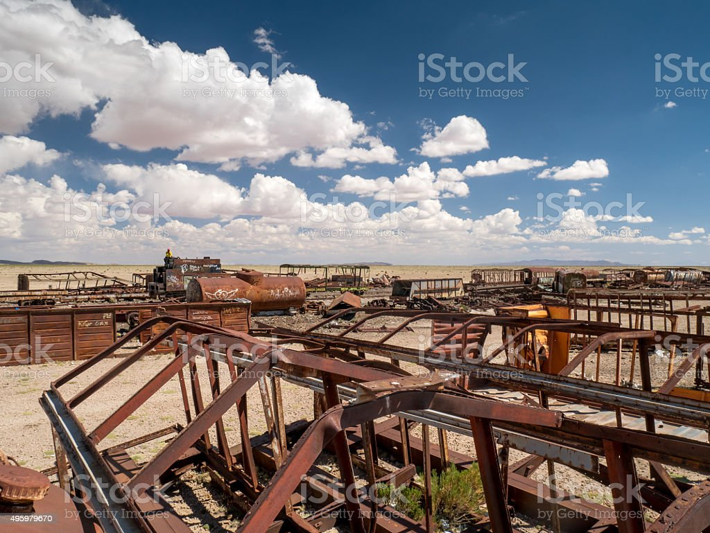 Train Cemetery in Uyuni, Bolivian royalty-free stock photo