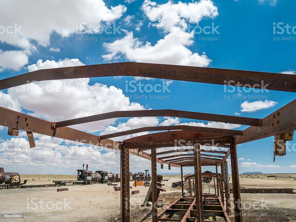 Train Cemetery in Uyuni, Bolivian royalty-free stock photo
