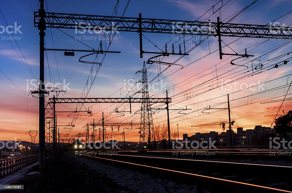 Train coming fron sky on fire stock photo